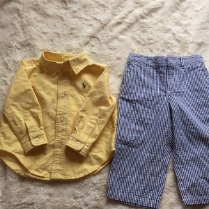 Baby boy seat sucker pants with button down shirt